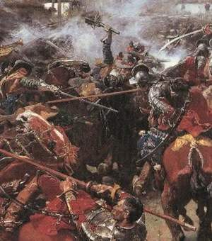 Polish Hussars in an engagement with Swedish cavalry